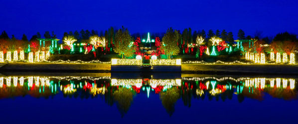 Photo of Tandy Floral Terraces decorated in holiday lights from across lake